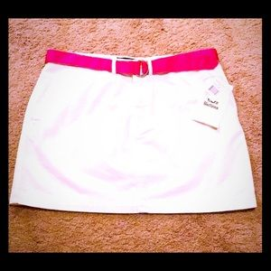 NWT Polo Lauren Sport White Denim Skirt Pink Belt